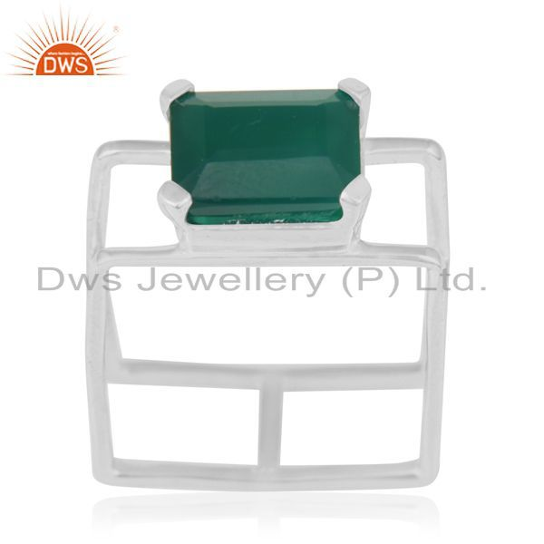 Green Onyx Square Wire And Shape Designer Artisan Wholesale Silver Ring