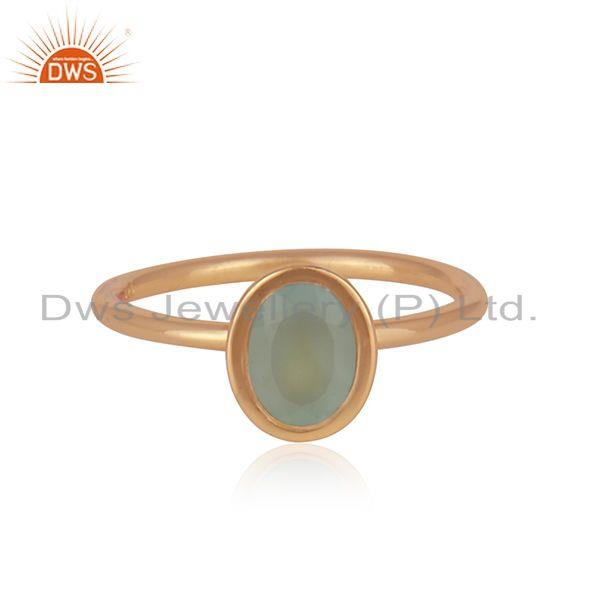 Aqua Chalcedony Gemstone Rose Gold Plated 925 Silver Rings