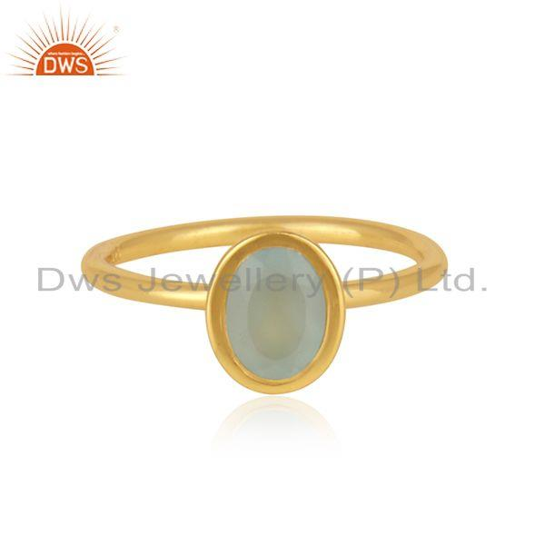 Gold Plated 925 Silver Aqua Chalcedony Gemstone Rings Manufacturer