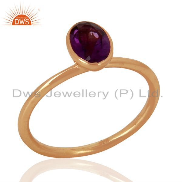 Amethyst 925 Sterling Silver Rose Gold Plated Stack Rings Gemstone Jewellery