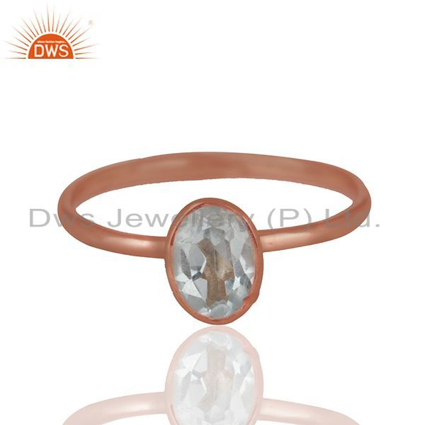 Blue Topaz 925 Sterling Silver Rose Gold Plated Stack Rings Gemstone Jewellery