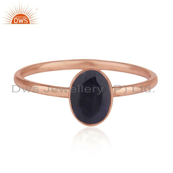 Iolite Gemstone Rose Gold Plated Handmade 925 Silver Wedding Ring Whlolesale