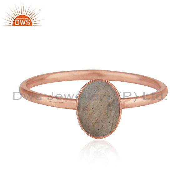 Natural Labradorite Gemstone Rose Gold Plated 925 Silver Ring Manufacturers