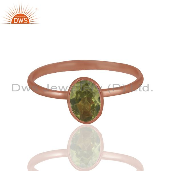 Peridot 925 Sterling Silver Rose Gold Plated Stack Rings Gemstone Jewellery