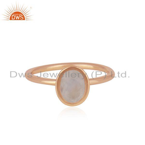 Rose Gold Plated Sterling Silver Rainbow Moonstone Ring Supplier