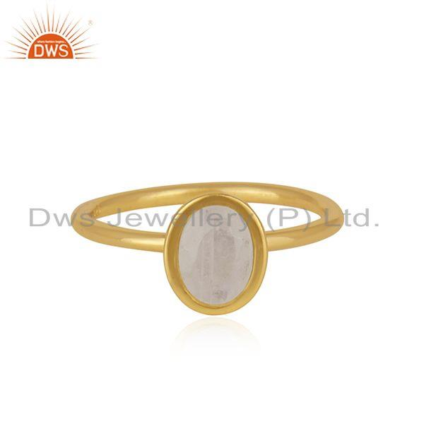 Handmade Gold Plated 925 Silver Rainbow Moonstone Ring Jewelry