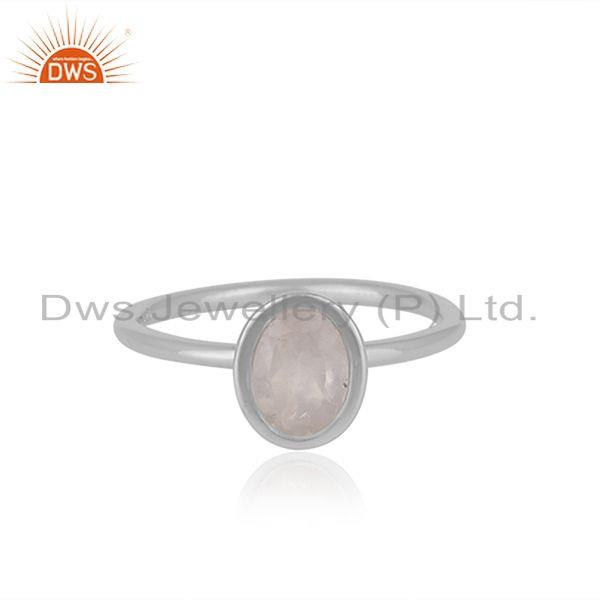 Simpal Design Rose Quartz Gemstone 925 Fine Silver Ring Manufacturer