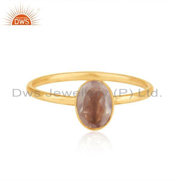 Rose Quartz Gemstone 18k Gold Plated Silver Girls Ring Jewelry Supplier