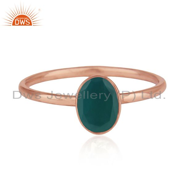Green Onyx Gemstone 925 Silver Rose Gold Plated Wedding Ring Manufacturers