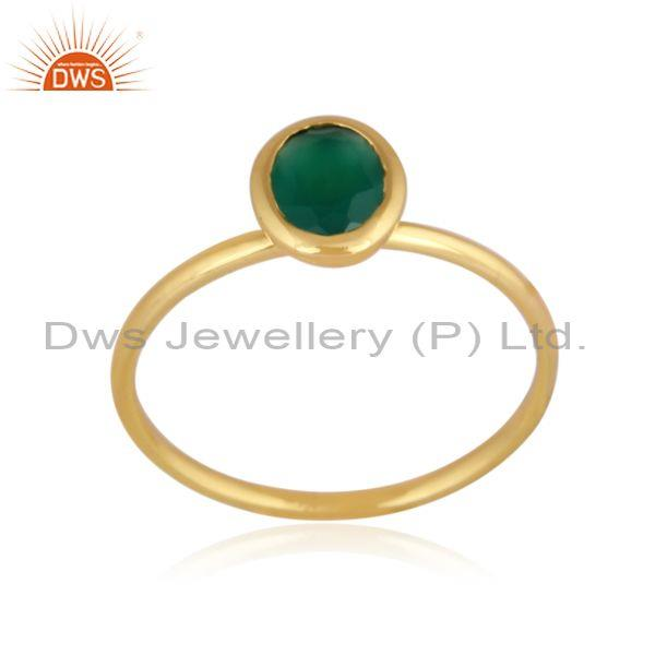 Green Onyx Set Gold On 925 Silver Handhammered Classic Ring