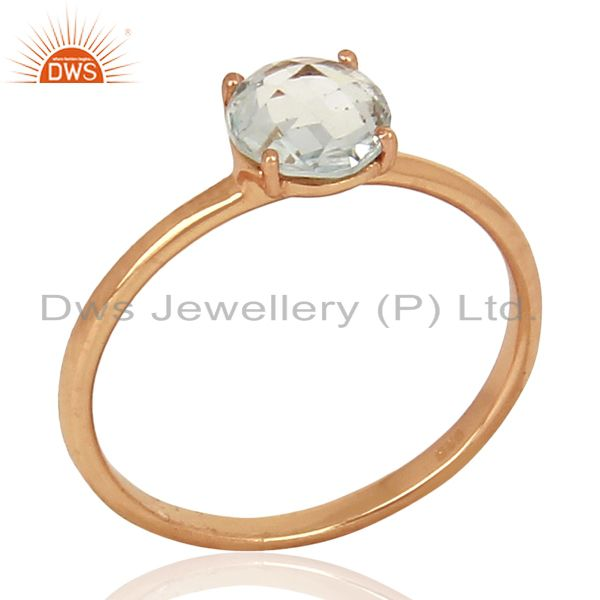 Blue Topaz 925 Sterling Silver Rose Gold Plated  Ring Gemstone Jewellery