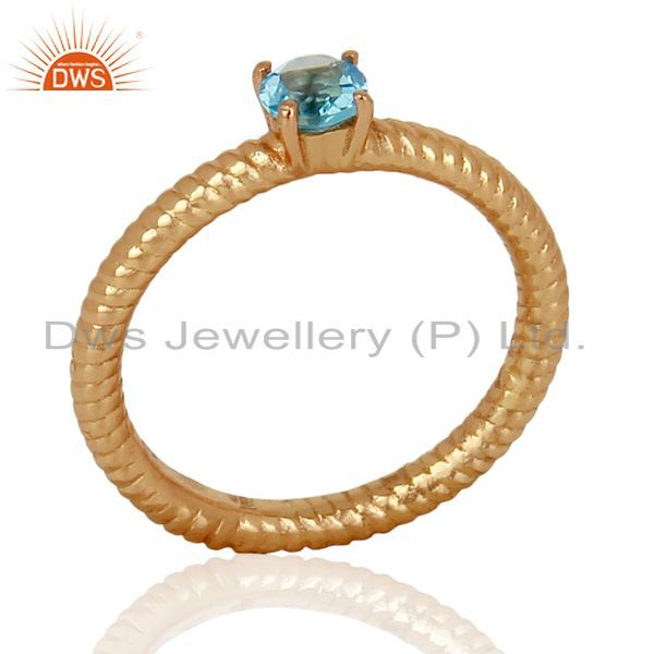 Blue Topaz Twist Band Sterling Silver Rose Gold Plated Ring Gemstone Jewellery