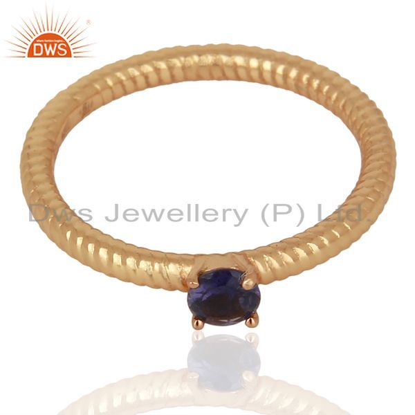 Iolite Twist Band 925 Sterling Silver Rose Gold Plated Ring Gemstone Jewellery
