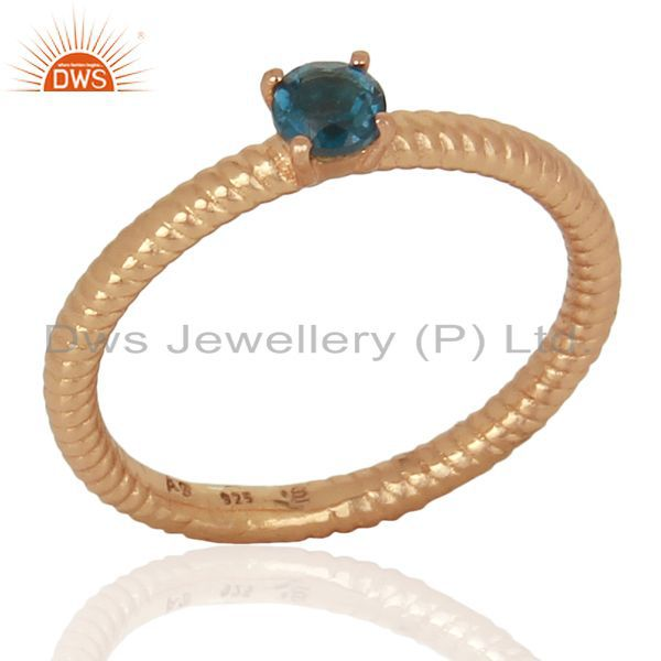 London Blue Topaz Twist Band Sterling Silver Ring Gemstone Jewellery