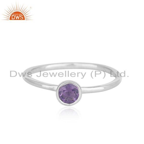 White Rhodium Plated 925 Silver Amethyst Gemstone Ring Manufacturer