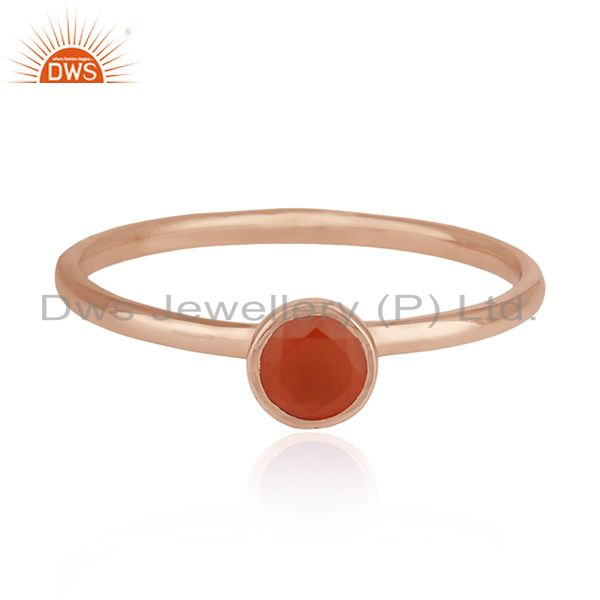 Carnelian Gemstone 925 Silver Rose Gold Plated Wedding Ring Manufacturer