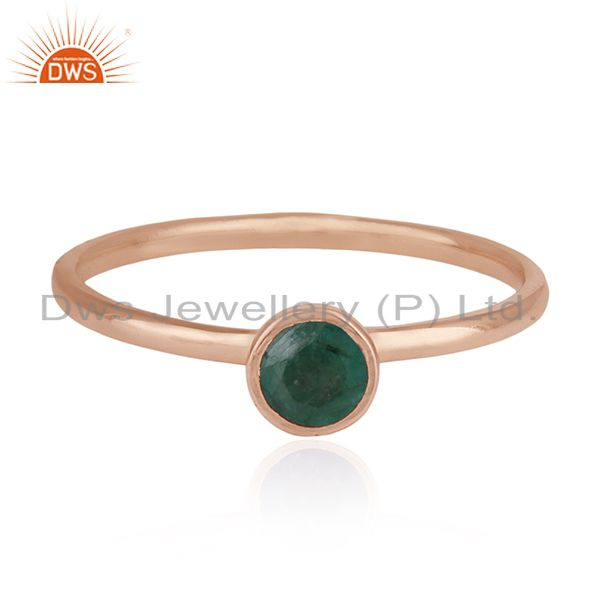 Emerald Birthstone 925 Silver Rose Gold Plated Wedding Ring Manufacturer India