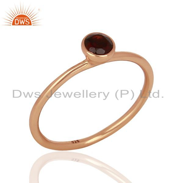 Garnet 925 Sterling Silver Rose Gold Plated Stack Rings Gemstone Jewellery