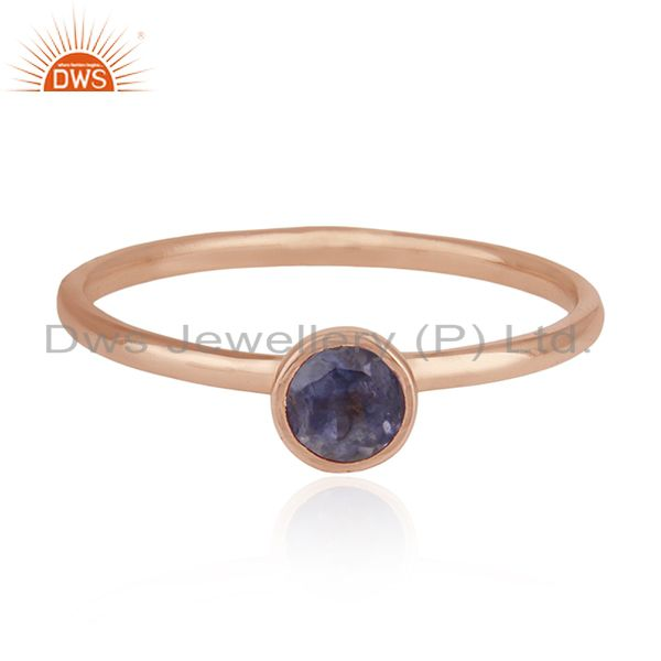 Natural Iolite Gemstone 925 Silver Rose Gold Plated Wedding Ring Manufacturer