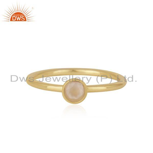 Chaledony Gemstone Gold Plated Sterling Silver Ring Wholesaler