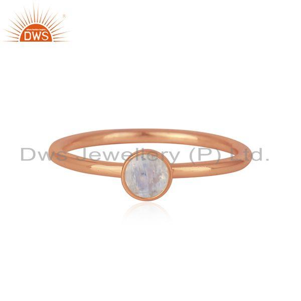 Rainbow Moonstone Rose Gold Plated 925 Silver Rings Manufacturer