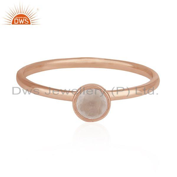Rose Quartz Gemstone 925 Silver Rose Gold Plated Wedding Ring Manufacturer India