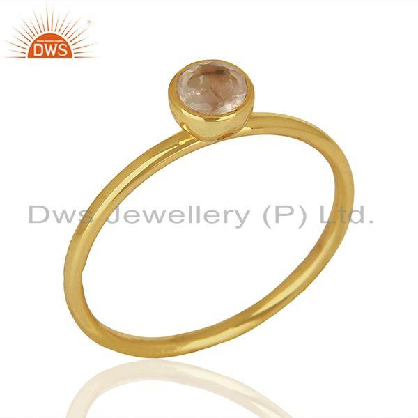 Rose Quartz Gemstone Yellow Gold Plated Silver Designer Ring Supplier