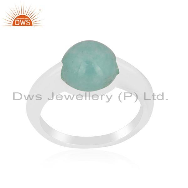 Amazonite set fine sterling silver handhammered classic ring