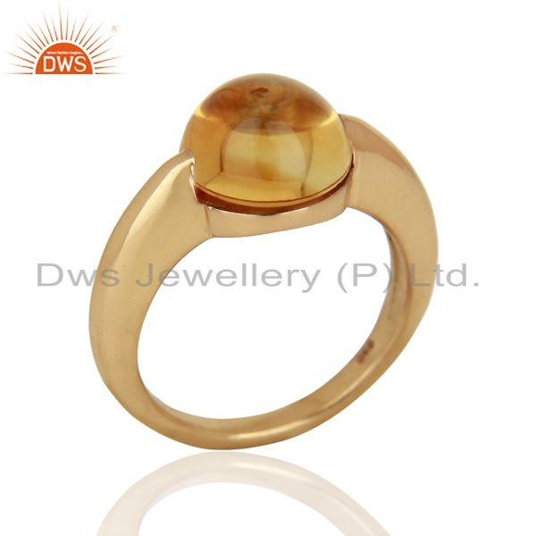 Citrine Eye of the Beholder Tension Sterling Silver Rose Gold Plated  Rings