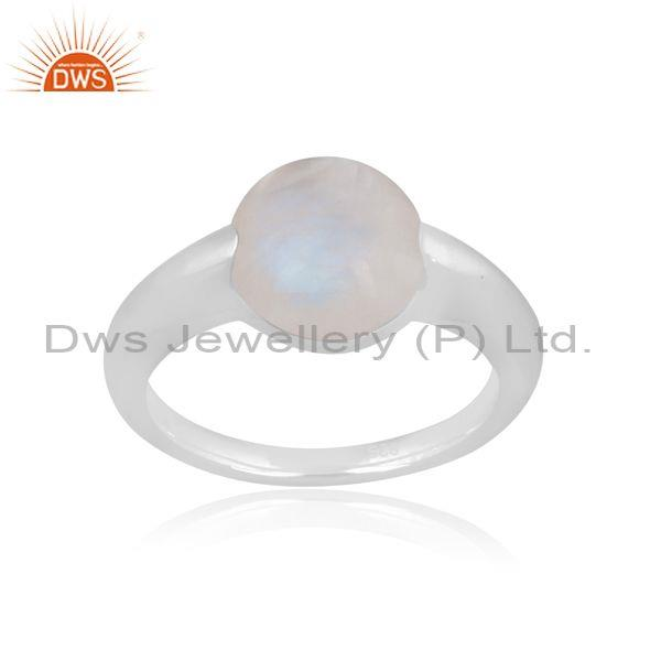 Rainbow Moon Stone Set Fine Silver Handhammered Classic Ring