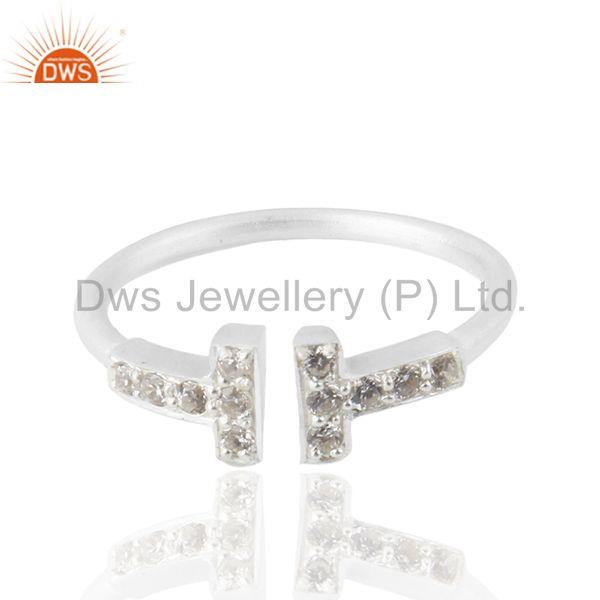 White Zircon Double Cross Charm 925 Silver Ring Jewelry Manufacturers
