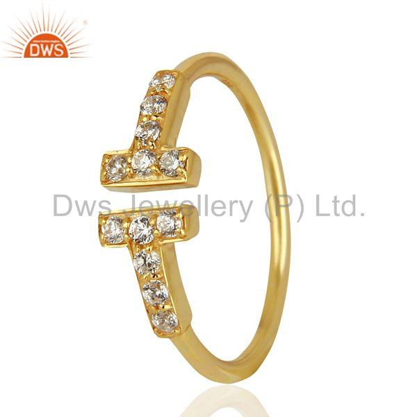 Cz Double Cross Curved Bar 925 Sterling Silver 14K Gold Plated Ring Jewellery