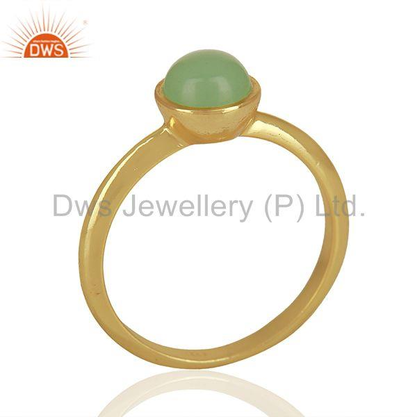 Designer 925 Silver Gold Plated Aqua Chalcedony Gemstone Rings Jewelry