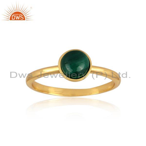Malachite set gold on 925 silver handhammered classic ring