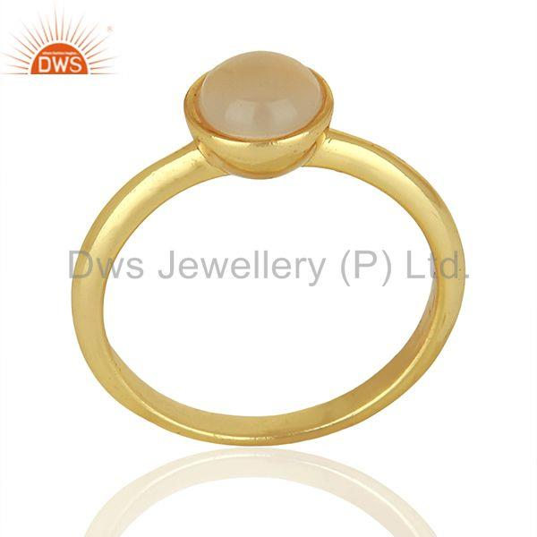 Designer Rose Chalcedony Gemstone Yellow Gold Plated Silver Rings