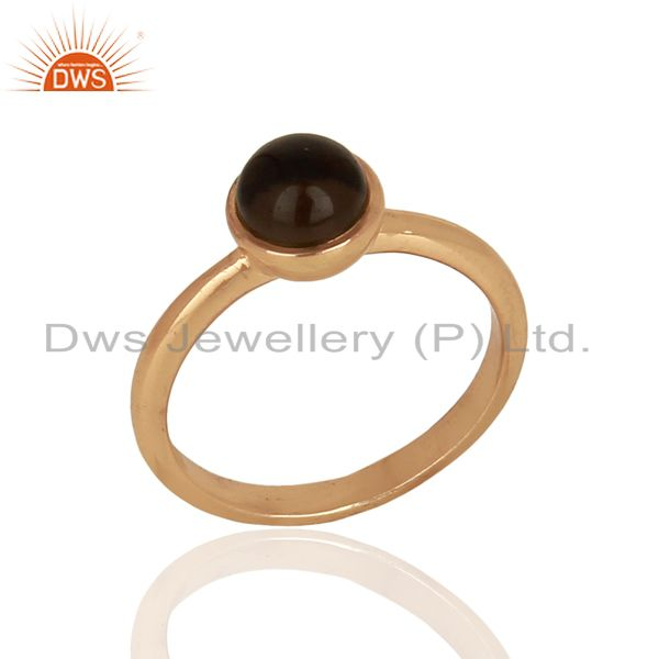 Smoky Topaz 925 Sterling Silver Rose Gold Plated Stack Rings Gemstone Jewellery