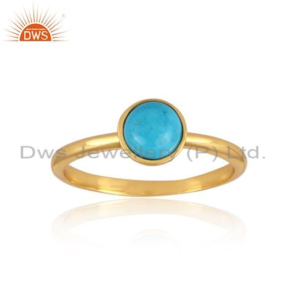 Turquoise Set Gold On 925 Silver Handhammered Classic Ring