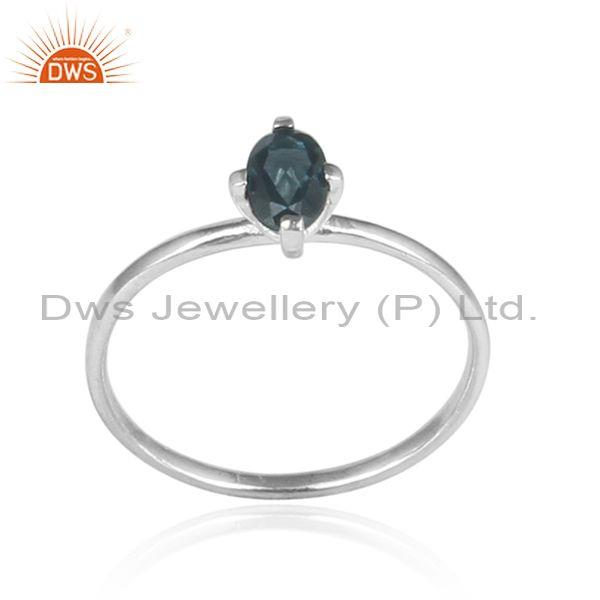 Beautiful Prong Set Sterling Silver London Blue Topaz Ring