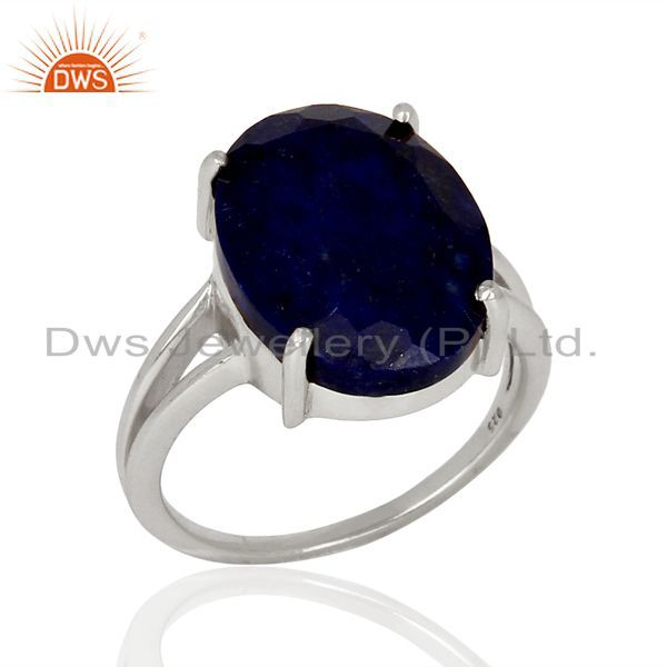 Lapis Flat Stone Oval Shape 92.5 Sterling Silver Wholesale Silve Ring