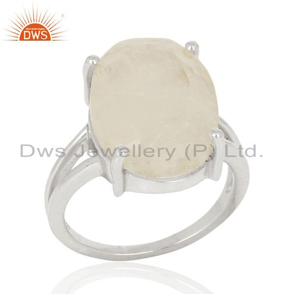 Moon Stone Flat Stone Oval Shape 92.5 Sterling Silver Wholesale Silve Ring