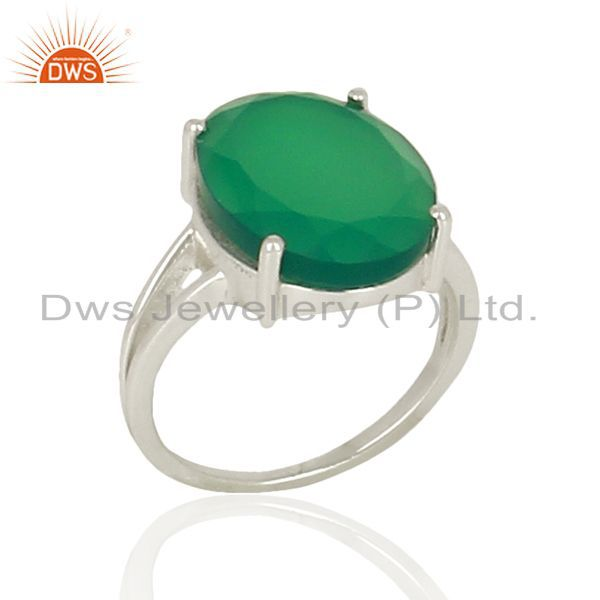 Green Onyx Flat Stone Oval Shape 92.5 Sterling Silver Wholesale Silve Ring
