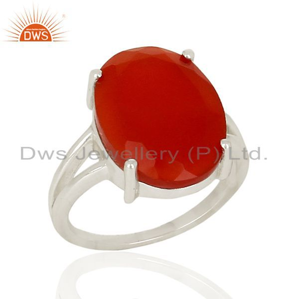 Red Onyx Flat Stone Oval Shape 92.5 Sterling Silver Wholesale Silve Ring