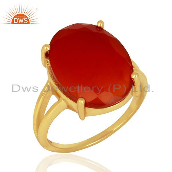 Red Onyx Flat Stone Oval Shape 14 K Gold Plated Wholesale Silve Ring