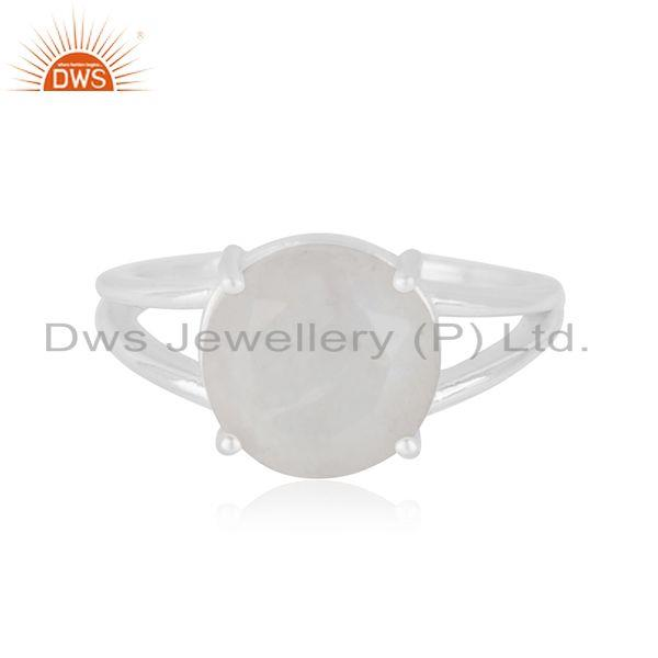 Rainbow Moonstone Flat Stone Round Shape Designer Stelring Silver Wholesale Ring