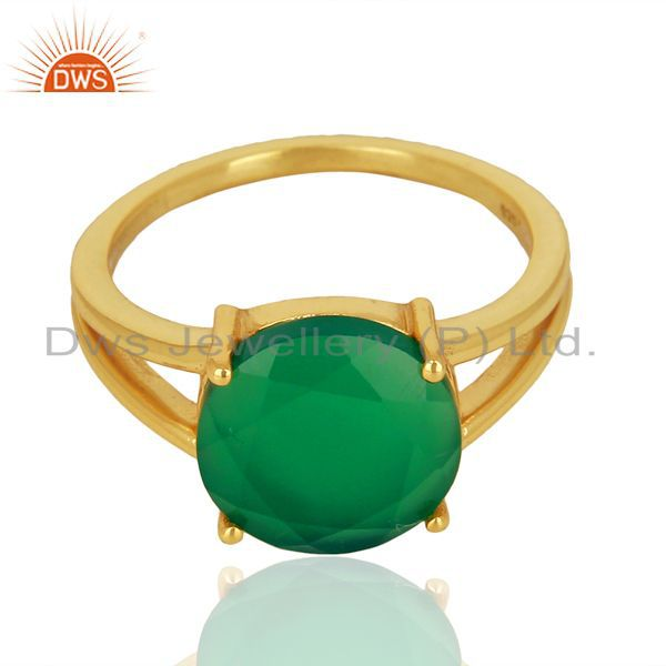 Green Onyx Flat Stone Round Shape 14 K Gold Plated Wholesale Silve Ring