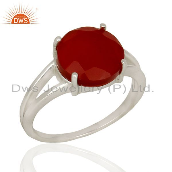 Red Onyx Flat Stone Round Shape Designer 92.5 Stelring Silver Wholesale Ring