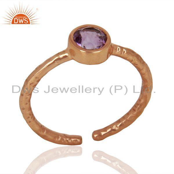 Amethyst Adjustable Rose Gold Plated Wholesale Sterling Silver Ring