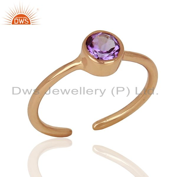 Rose Gold Plated Natural Amethyst Gemstone Ring Jewelry Wholesale