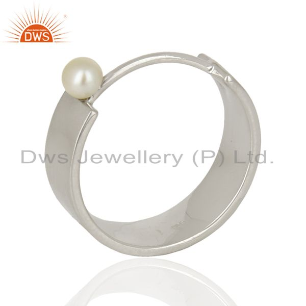 Sterling Fine Silver Pearl Gemstone Band Ring Jewelry Manufacturer