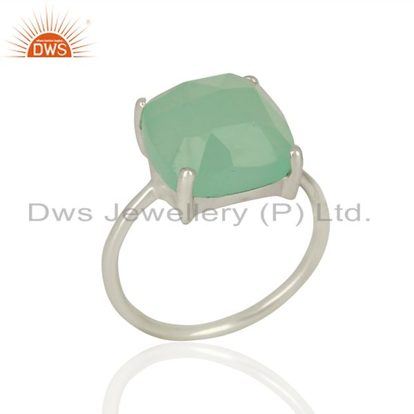 925 Sterling Fine Silver Aqua Chalcedony Gemstone Rings Manufacturer